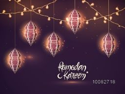 Beautiful creative hanging lamps with illuminated lights decoration on shiny background, Elegant Greeting Card design for Islamic Holy Month of Fasting, Ramadan Kareem celebration.