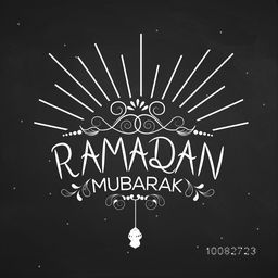 Elegant Greeting Card design with stylish text Ramadan Mubarak, Ramadan Mubarak typographical background, Concept for Islamic Holy Month of Fasting celebration.