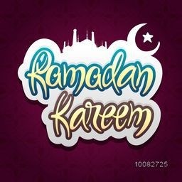 Creative sticky design with stylish text Ramadan Kareem, Mosque, Crescent Moon and Star on floral decorated background.