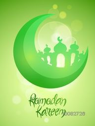3D Green Crescent Moon with Mosque on shiny background, Beautiful Pamphlet, Banner or Flyer design for Islamic Holy Month of Prayer, Ramadan Kareem celebration.