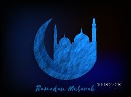 Creative Blue Crescent Moon with Mosque for Islamic Holy Month of Prayer, Ramadan Mubarak celebration.