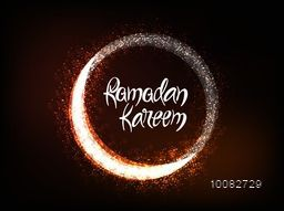 Elegant Greeting Card design with Beautiful Glowing Crescent Moon for Holy Month of Muslim Community, Ramadan Kareem celebration.