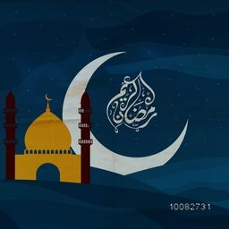 Big Crescent Moon with Mosque and Arabic Islamic Calligraphy of text Ramadan Kareem on blue night desert background.