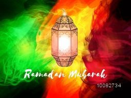 Traditional glossy lamps on colourful abstract background, Beautiful Greeting Card design for Islamic Holy Month of Fasting, Ramadan Mubarak celebration.
