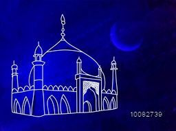 Creative Mosque on blue night background, Concept for Islamic Festival celebration.