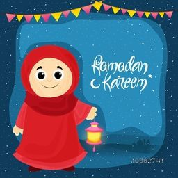 Cute Islamic Girl in Traditional Outfits holding Lanterns for Holy Month of Prayer, Ramadan Kareem Celebration, Elegant Greeting or Invitation Card.