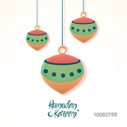 Elegant Greeting Card design with glossy hanging lamps for Islamic Holy Month of Prayer, Ramadan Kareem celebration.