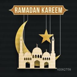 Ramadan Kareem greeting card design with paper cut out Mosque, Big Crescent Moon and Star for Islamic Holy Month of Prayer celebration.