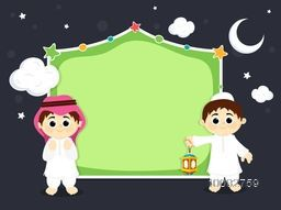 Cute Muslim Religious Kids on stylish background, Greeting Card design with space for your text, Creative vector illustration for Islamic Holy Month of Prayer, Ramadan Kareem celebration.