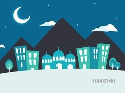 View of a urban city with mosque on night background, Creative paper cut out illustration with buildings, mosque and mountains for Islamic Festivals celebration concept.