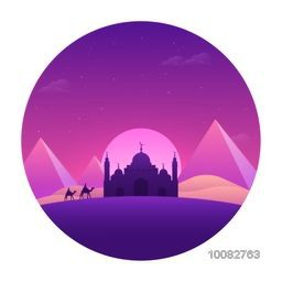 Beautiful view of desert with purple mosque, mountains on full moon light night background, Greeting Card design for Islamic Festivals celebration.