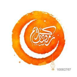Creative Crescent Moon with Arabic Islamic Calligraphy of text Ramadan Kareem on orange background for Holy Month of Muslim Community Festival celebration.