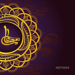 Floral design decorated greeting card with Arabic Islamic Calligraphy text Ramadan Kareem for Holy Month of Muslim Community festival celebration.