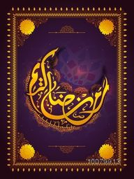 Shiny beautiful floral design decorated elegant greeting card with Arabic Islamic Calligraphy text Ramadan Kareem for Holy Month of Muslim Community festival celebration.