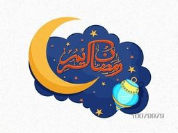 Creative Arabic Islamic Calligraphy text Ramadan Kareem with crescent moon and traditional lantern for Holy Month of Muslim Community festival celebration.