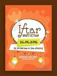 Creative Invitation Card design with date and time details for Ramadan Kareem, Iftar Party celebration.