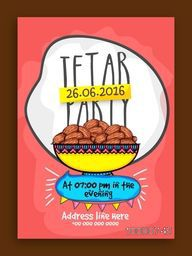 Iftar Party Invitation Card design with illustration of sweet delicious dates.