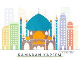 Creative colourful Mosque on urban city background for Holy Month of Muslim Community, Ramadan Kareem celebration.