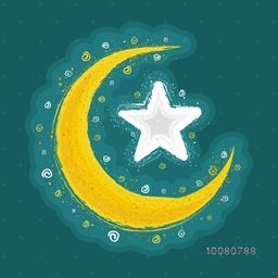 Creative crescent Moon with Star for Islamic Holy Month, Ramadan Kareem celebration.