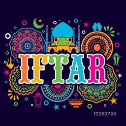 Colourful text Iftar on beautiful floral design, Mosque and Islamic elements decorated background, Elegant Greeting or Invitation Card for Muslim Community Festival celebration.