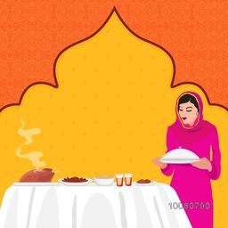 Young Muslim Woman preparing food on stylish background for Ramadan Kareem, Iftar Party celebration.