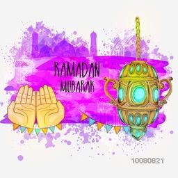 Illustration of praying human hands with traditional hanging lantern on mosque decorated abstract background for Islamic Holy Month of Prayers, Ramadan Mubarak celebration.