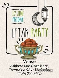 Creative Invitation Card design with illustration of sweet dates in traditional pot for Ramadan Kareem, Iftar Party celebration.