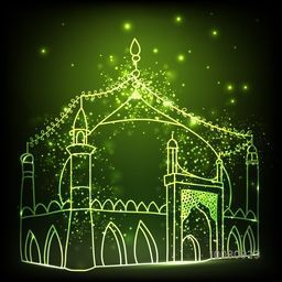 Beautiful glowing Mosque on shiny green background. Creative line art illustration for Muslim Community Festival celebration.