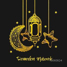 Golden floral crescent moon, traditional lantern and stars for Islamic Holy Month of Prayers, Ramadan Mubarak.