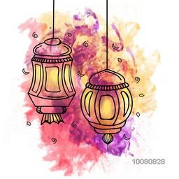 Creative traditional Lanterns on colourful abstract background for Islamic Holy Month of Prayers, Ramadan Kareem celebration.