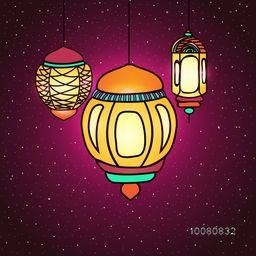 Beautiful glowing traditional lamps on shiny background for Islamic Holy Month of Prayers, Ramadan Kareem celebration.