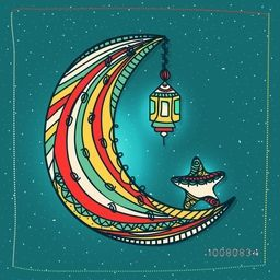 Colourful Crescent Moon with Lamp and Star on shiny background for Holy Month of Muslim Community, Ramadan Kareem celebration.