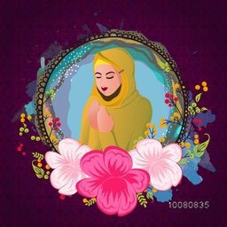 Illustration of a beautiful Muslim Woman reading Namaz (Islamic Prayer) in colourful flowers decorated frame for Holy Month of Prayers, Ramadan Kareem celebration.