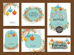 Set of beautiful Greeting or Invitation Cards decorated with colourful flowers and lamps for Islamic Holy Month of Fasting, Ramadan Kareem or Iftar Party celebration.