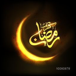 Elegant golden shiny crescent Moon with Arabic Islamic Calligraphy text Ramadan Kareem on floral decorated background for Holy Month of Muslim Community celebration.
