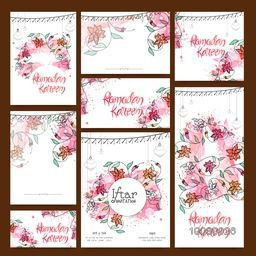 Beautiful flowers decorated, Greeting or Invitation Card set for Ramadan Kareem, Iftar Party celebration.