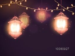 Glowing traditional hanging Lamps with lights decoration for Islamic Holy Month of Prayers, Ramadan Kareem celebration.