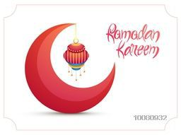 Creative 3D crescent Moon with hanging lamp on shiny background for Islamic Holy Month of Prayer, Ramadan Kareem celebration.