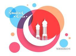 Shiny white Crescent Moon with Mosque on colourful abstract background for Islamic Holy Month Ramadan Kareem celebration.
