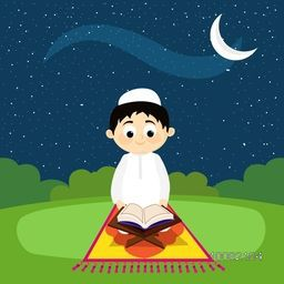 "Cute Muslim Boy reading Holy Book ""Quran Shareef"" on Night background for Islamic Festivals Celebration."