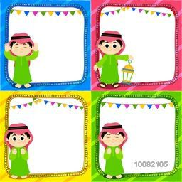 Set of blank Greeting or Invitation Cards with illustration of a Islamic Boy in different pose for Islamic Festivals Celebration.