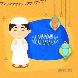 Cute Islamic Boy in Traditional Outfits Praying on Lanterns decorated background for Holy Month of Muslim Community, Ramadan Mubarak, Elegant Greeting Card Design.