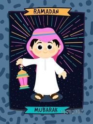 Beautiful Greeting Card with illustration of a Islamic Boy in Traditional Outfits, holding Lantern for Holy Month of Muslim Community, Ramadan Kareem Celebration.