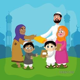 Cute Islamic family wishing and giving gifts to each others on occasion of Islamic Festivals in front of Mosque.