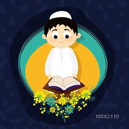 "Cute Muslim Boy reading Holy Book ""Quran Shareef"" on creative background for Islamic Festivals Celebration."