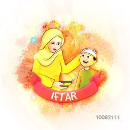 Illustration of a Islamic Mother giving food to her Son for Ramadan Kareem, Iftar Party Celebration.