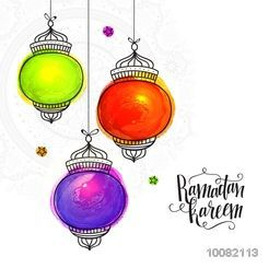 Colourful creative Traditional Lanterns on floral background for Holy Month of Prayer, Ramadan Kareem Celebration.