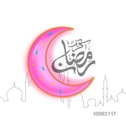 Glossy pink Crescent Moon with Arabic Calligraphy text Ramadan Kareem on creative line-art Mosque background for Holy Month of Muslim Community Festival Celebration.