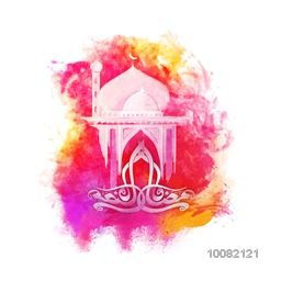 Arabic Calligraphy text Ramadan Kareem with creative Mosque on colourful abstract splash for Holy Month of Prayer Celebration.