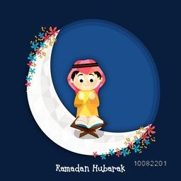 "Illustration of a cute Muslim Boy reading Holy Book ""Quran Shareef"" on flowers decorated big Crescent Moon for Islamic Festivals Celebration."